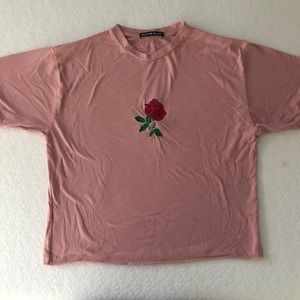 Brandy Melville Tops - RARE Brandy Melville rose embroidered pink Aleena